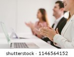 Small photo of Business people clapping their hands, congratulation and appreciation concepts