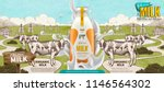 farm fresh milk with splashing... | Shutterstock .eps vector #1146564302