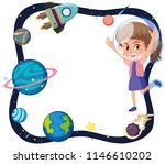 space theme with girl astronaut ... | Shutterstock .eps vector #1146610202