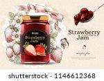 elegant strawberry jam ads with ... | Shutterstock .eps vector #1146612368