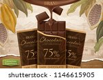 dark chocolate ads with 3d... | Shutterstock .eps vector #1146615905
