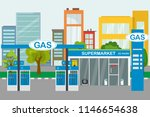 empty city street and petrol... | Shutterstock .eps vector #1146654638