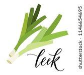 leek in flat style. hand... | Shutterstock .eps vector #1146654695