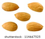 Almonds Isolated On White...