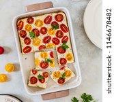 red and yellow cherry tomato... | Shutterstock . vector #1146678482