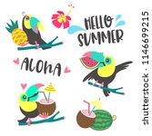 aloha. a set of cute toucans.... | Shutterstock .eps vector #1146699215