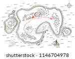 ancient pirate map with red... | Shutterstock .eps vector #1146704978