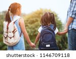 back to school. asian mother... | Shutterstock . vector #1146709118