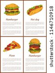 hamburger and pizza slice with... | Shutterstock .eps vector #1146710918