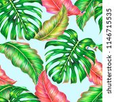tropical leaves  jungle... | Shutterstock . vector #1146715535