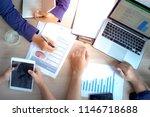 top view hand of business team... | Shutterstock . vector #1146718688
