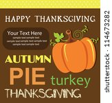 happy thanksgiving day card.... | Shutterstock .eps vector #114673282