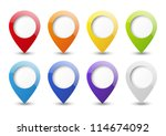 set of round 3d map pointers | Shutterstock .eps vector #114674092