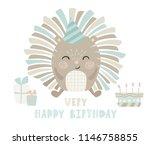 hedgehog baby happy birthday... | Shutterstock .eps vector #1146758855