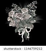 beautiful bouquet of  red roses ... | Shutterstock .eps vector #1146759212