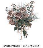 beautiful bouquet of  red roses ... | Shutterstock .eps vector #1146759215