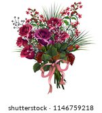 beautiful bouquet of  red roses ... | Shutterstock .eps vector #1146759218