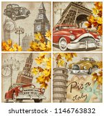 set of vintage paris london... | Shutterstock . vector #1146763832