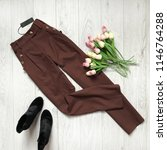 female brown pants on a wooden... | Shutterstock . vector #1146764288