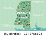 illustrated map of the state of ... | Shutterstock .eps vector #1146766925