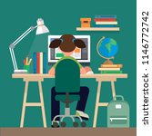 student sitting at the desk ... | Shutterstock .eps vector #1146772742