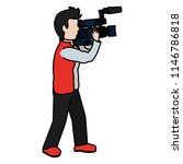 color cute cameraman with... | Shutterstock .eps vector #1146786818