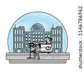 doodle journalist van and... | Shutterstock .eps vector #1146786962