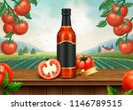 ketchup retro ads with 3d... | Shutterstock .eps vector #1146789515