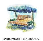 garden swing for summer rest.... | Shutterstock . vector #1146800972
