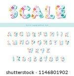 mermaid scale trendy font. cute ... | Shutterstock .eps vector #1146801902