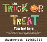 happy halloween card design.... | Shutterstock .eps vector #114681916