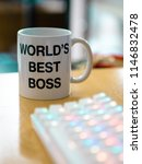 world's best boss mug near to... | Shutterstock . vector #1146832478