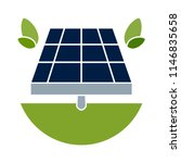 solar panel icon in flat style... | Shutterstock .eps vector #1146835658