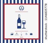 bottle of wine and wineglass... | Shutterstock .eps vector #1146835778