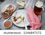 oktoberfest food bavarian white ...   Shutterstock . vector #1146847172