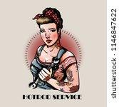 pin up girl hotrod service | Shutterstock .eps vector #1146847622