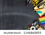 school supplies on black board... | Shutterstock . vector #1146860855