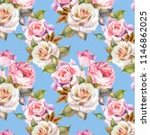 wers pattern with watercolor... | Shutterstock . vector #1146862025