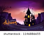 Stock vector happy halloween poster fantasy concept horror story abstract background vector illustration 1146886655