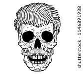 hipster skull.  vector skull. | Shutterstock .eps vector #1146891938