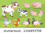 a set of cute cartoon village... | Shutterstock .eps vector #1146893708