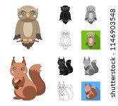 toy animals cartoon black flat...   Shutterstock . vector #1146903548