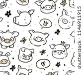 seamless pattern with funny... | Shutterstock .eps vector #1146911915