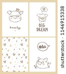 funny pigs. set of labels and... | Shutterstock .eps vector #1146915338