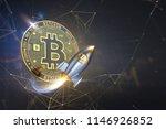 bitcoin rocket launcher ... | Shutterstock . vector #1146926852