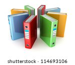 colored ring binders on white background - stock photo