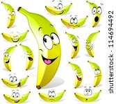 banana cartoon with many... | Shutterstock .eps vector #114694492
