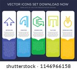 5 vector icons such as down...