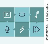 melody icon set and musical...