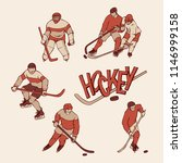 retro set hockey player and... | Shutterstock .eps vector #1146999158